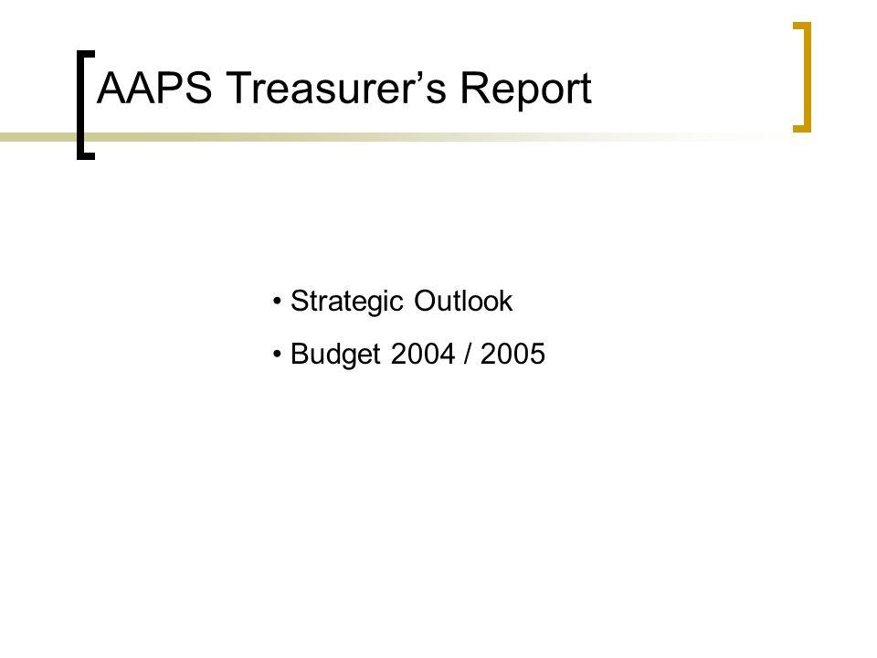 AAPS Treasurer's Report Strategic Outlook Budget 2004 / 2005
