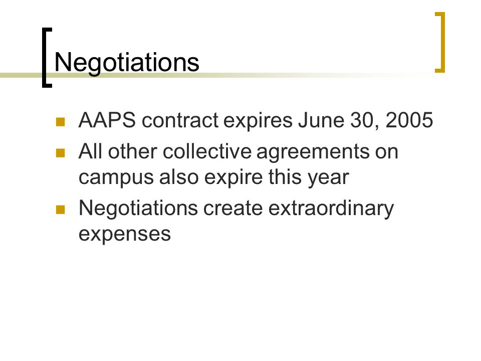 Negotiations AAPS contract expires June 30, 2005 All other collective agreements on campus also expire this year Negotiations create extraordinary expenses