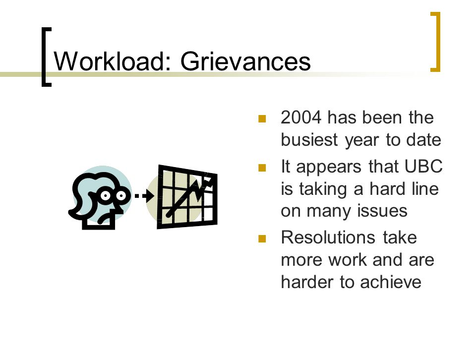 Workload: Grievances 2004 has been the busiest year to date It appears that UBC is taking a hard line on many issues Resolutions take more work and are harder to achieve