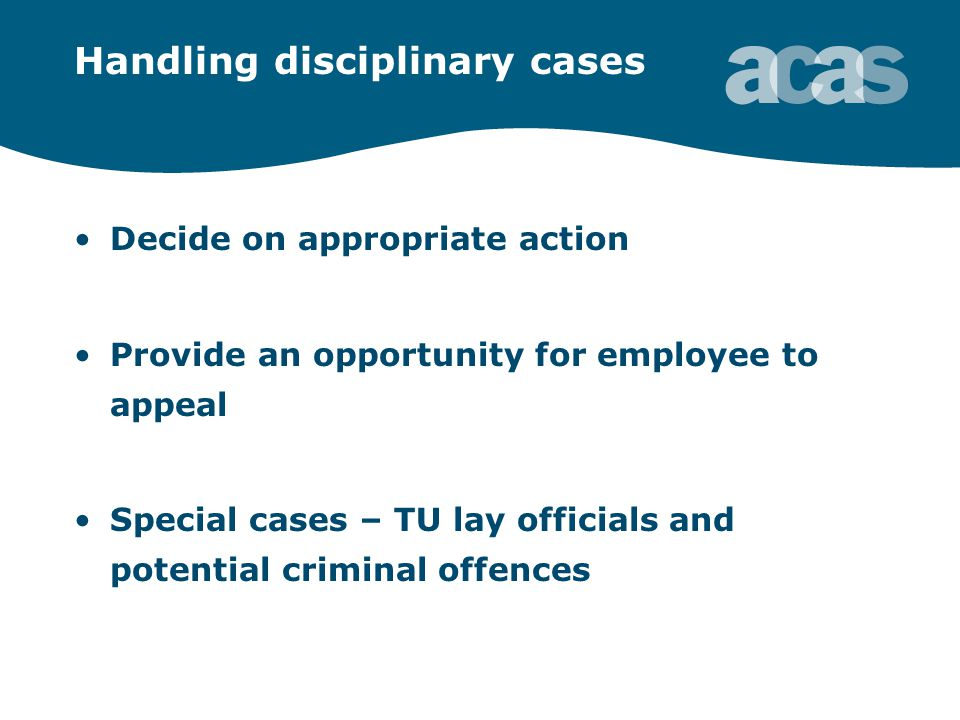 Handling disciplinary cases Decide on appropriate action Provide an opportunity for employee to appeal Special cases – TU lay officials and potential criminal offences