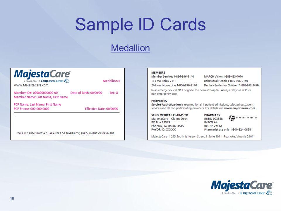10 Sample ID Cards Medallion