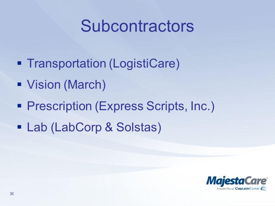 36 Subcontractors  Transportation (LogistiCare)  Vision (March)  Prescription (Express Scripts, Inc.)  Lab (LabCorp & Solstas)