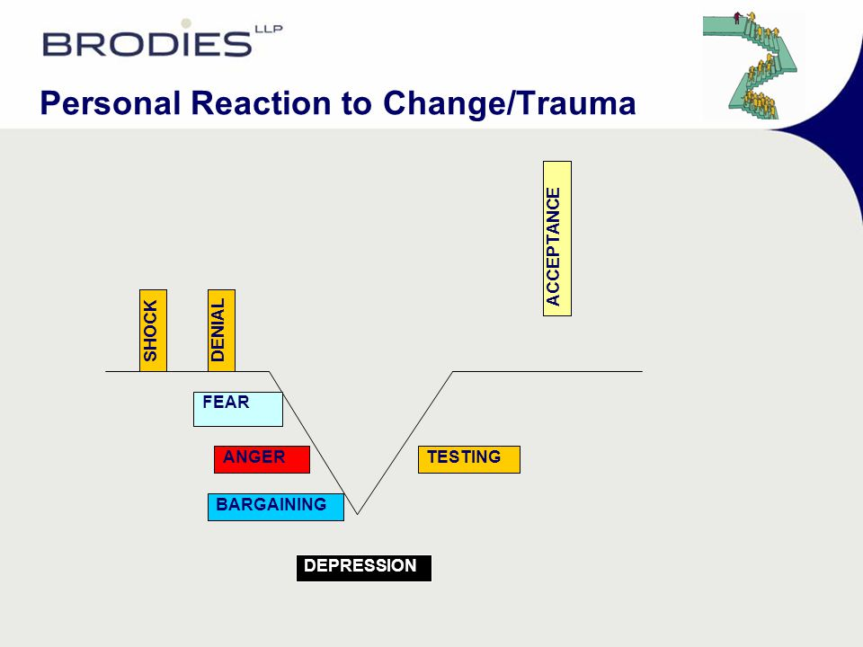 Personal Reaction to Change/Trauma ACCEPTANCE TESTING DEPRESSION BARGAINING ANGER FEAR DENIALSHOCK