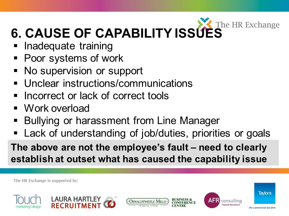  Inadequate training  Poor systems of work  No supervision or support  Unclear instructions/communications  Incorrect or lack of correct tools 