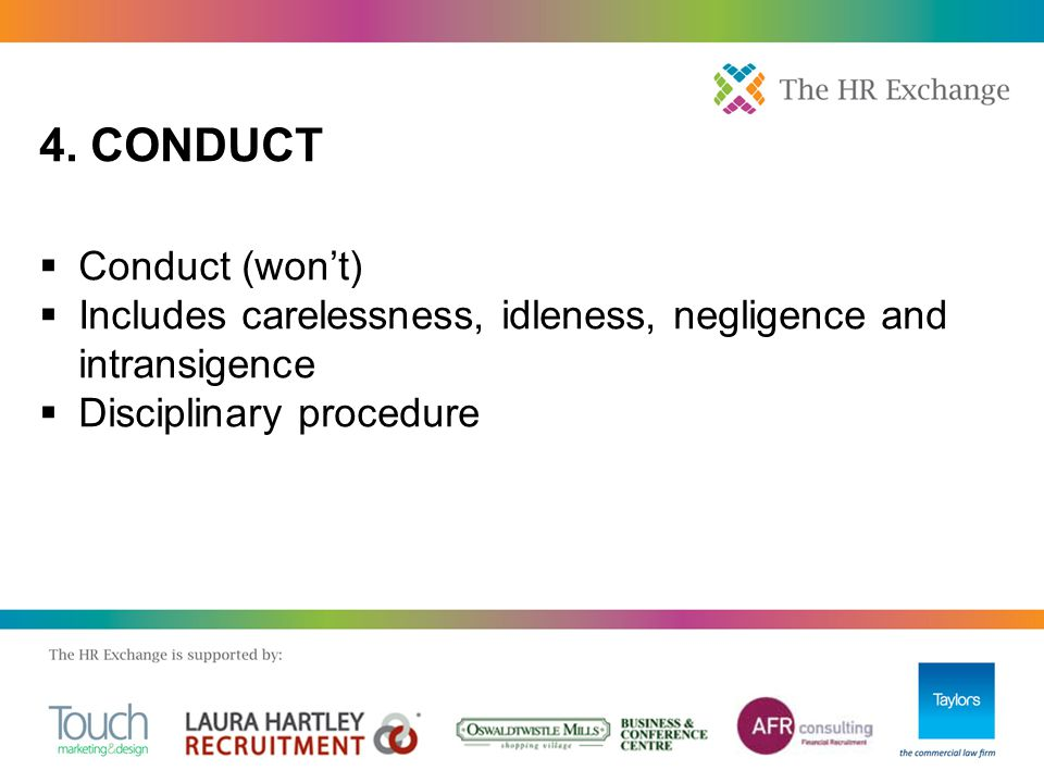  Conduct (won't)  Includes carelessness, idleness, negligence and intransigence  Disciplinary procedure 4. CONDUCT