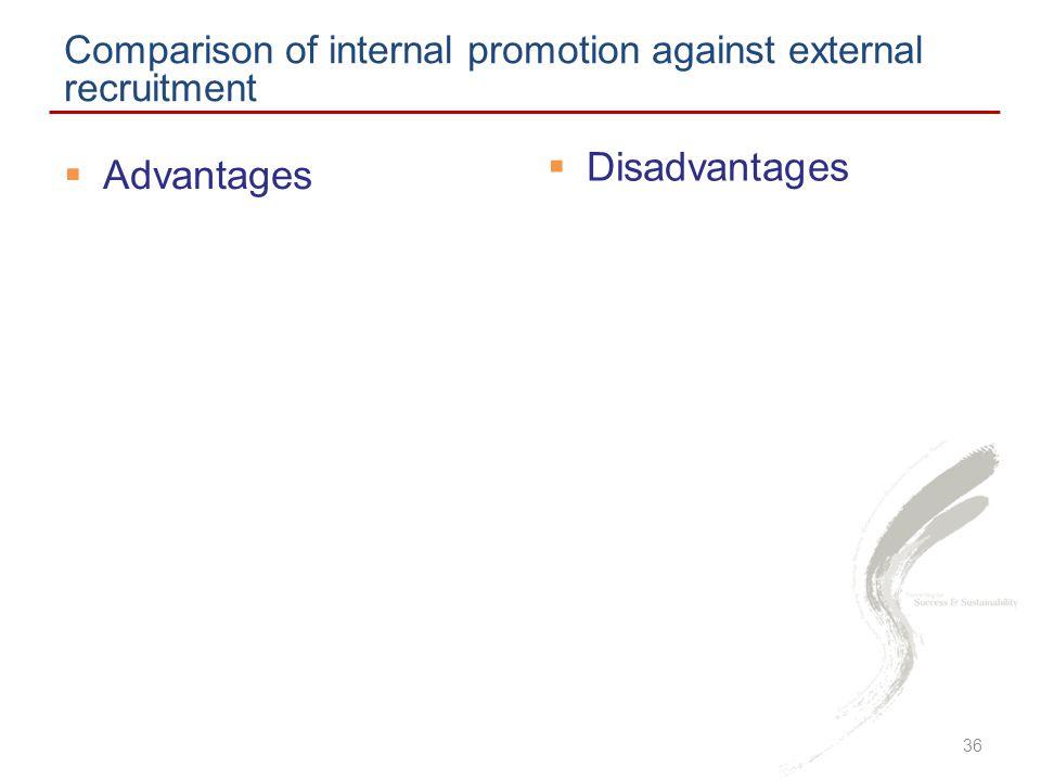  Disadvantages Comparison of internal promotion against external recruitment  Advantages 36