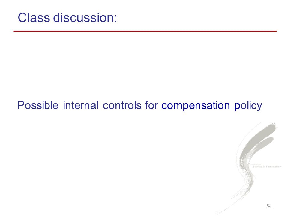 Possible internal controls for compensation policy Class discussion: 54
