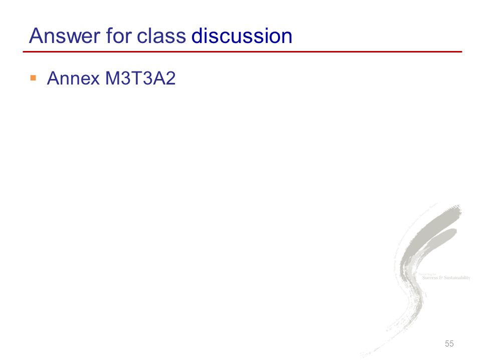  Annex M3T3A2 Answer for class discussion 55