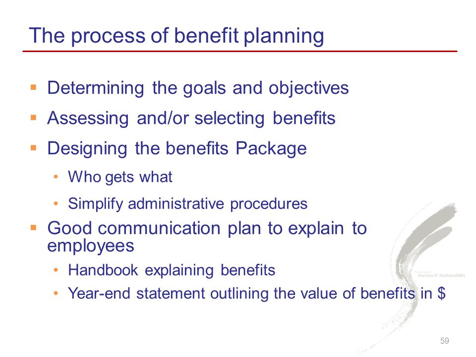  Determining the goals and objectives  Assessing and/or selecting benefits  Designing the benefits Package Who gets what Simplify administrative procedures  Good communication plan to explain to employees Handbook explaining benefits Year-end statement outlining the value of benefits in $ The process of benefit planning 59
