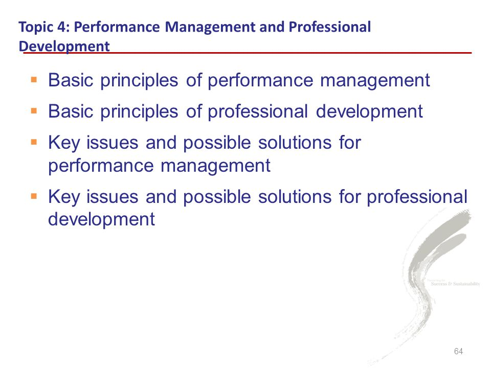  Basic principles of performance management  Basic principles of professional development  Key issues and possible solutions for performance management  Key issues and possible solutions for professional development Topic 4: Performance Management and Professional Development 64