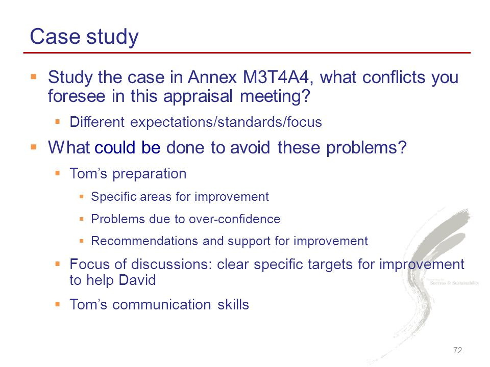  Study the case in Annex M3T4A4, what conflicts you foresee in this appraisal meeting.