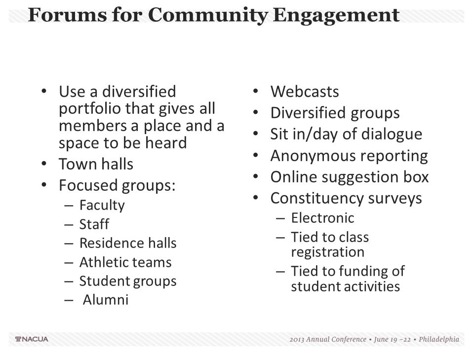 Webcasts Diversified groups Sit in/day of dialogue Anonymous reporting Online suggestion box Constituency surveys – Electronic – Tied to class registr