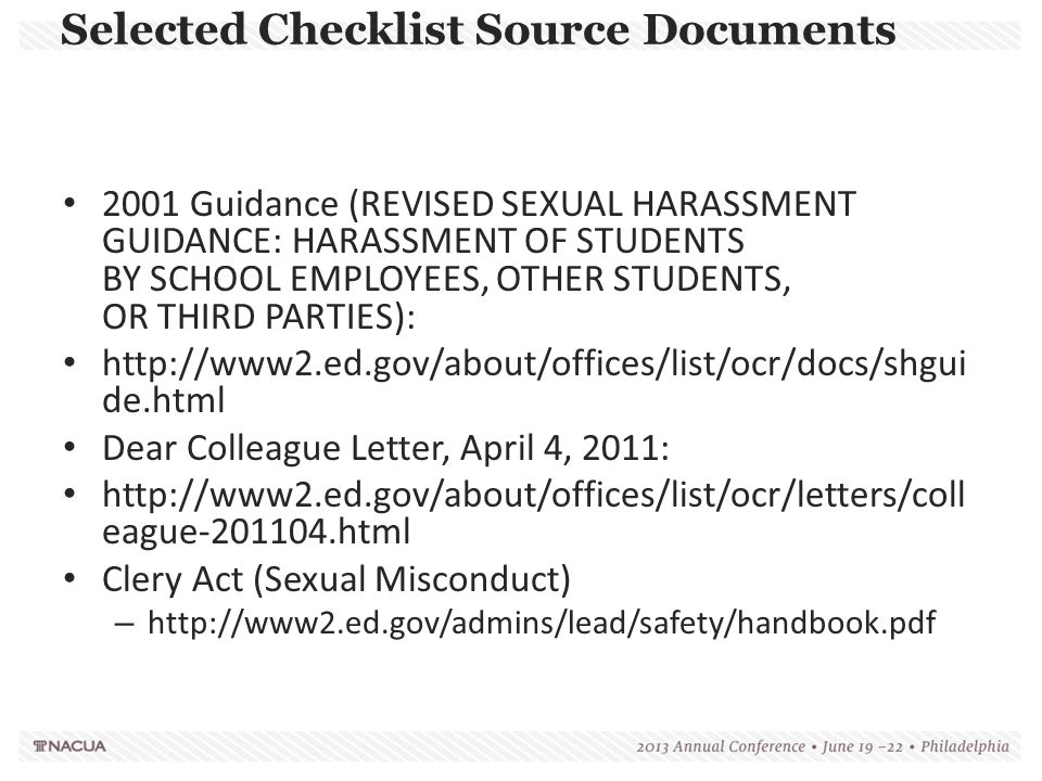 Selected Checklist Source Documents 2001 Guidance (REVISED SEXUAL HARASSMENT GUIDANCE: HARASSMENT OF STUDENTS BY SCHOOL EMPLOYEES, OTHER STUDENTS, OR