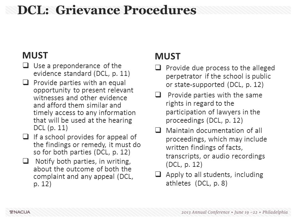 MUST  Provide due process to the alleged perpetrator if the school is public or state-supported (DCL, p. 12)  Provide parties with the same rights i