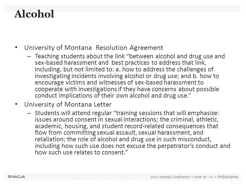 """University of Montana Resolution Agreement – Teaching students about the link """"between alcohol and drug use and sex-based harassment and best practice"""