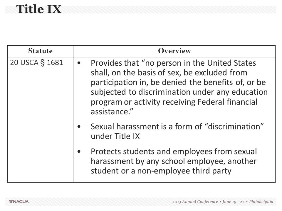 """Title IX StatuteOverview 20 USCA § 1681 Provides that """"no person in the United States shall, on the basis of sex, be excluded from participation in, b"""