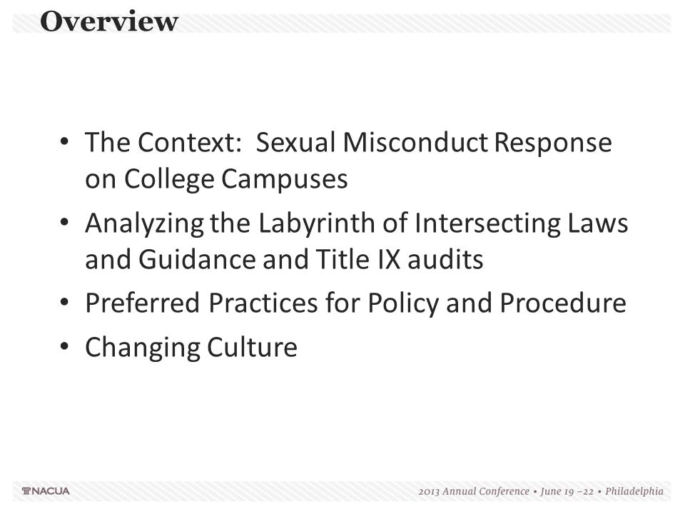Title IX StatuteOverview 20 USCA § 1681 Provides that no person in the United States shall, on the basis of sex, be excluded from participation in, be denied the benefits of, or be subjected to discrimination under any education program or activity receiving Federal financial assistance. Sexual harassment is a form of discrimination under Title IX Protects students and employees from sexual harassment by any school employee, another student or a non-employee third party