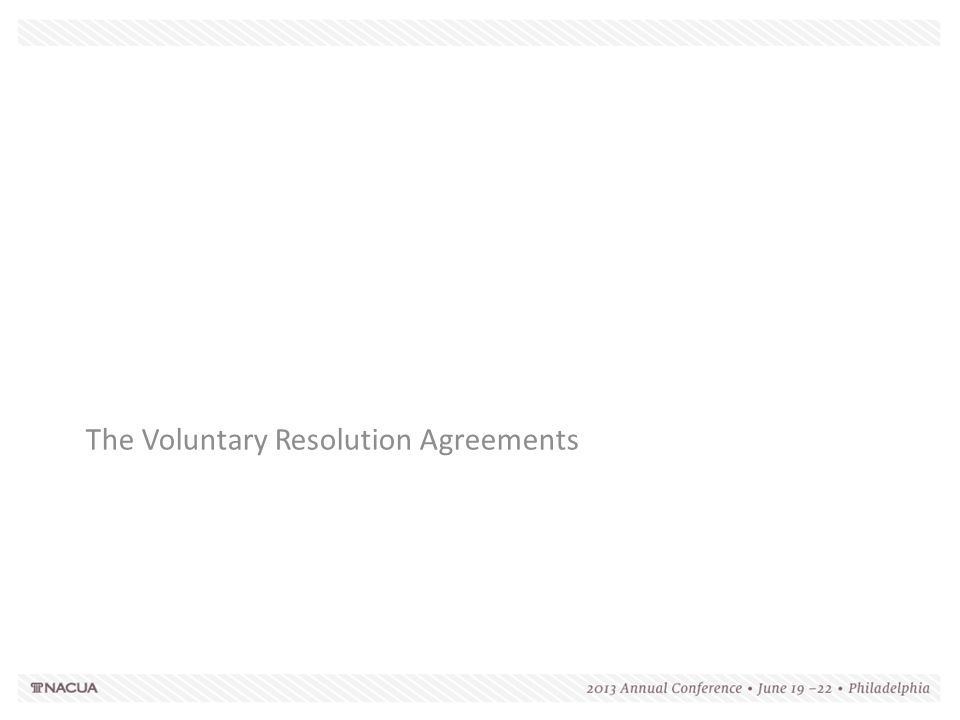 The Voluntary Resolution Agreements