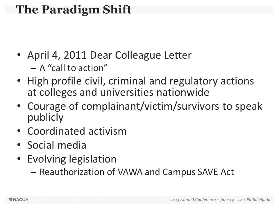 Dear Colleague Letter: Coordination with Law Enforcement SHOULD School should instruct law enforcement employees: – To notify complainants of their right to file a Title IX complaint in addition to the filing of a criminal complaint – To report incidents of sexual violence to the Title IX Coordinator if the complainant consents Law enforcement should be trained on the school's grievance procedures & any other procedures used for investigating reports of sexual violence Law enforcement should receive copies of the school's Title IX policies
