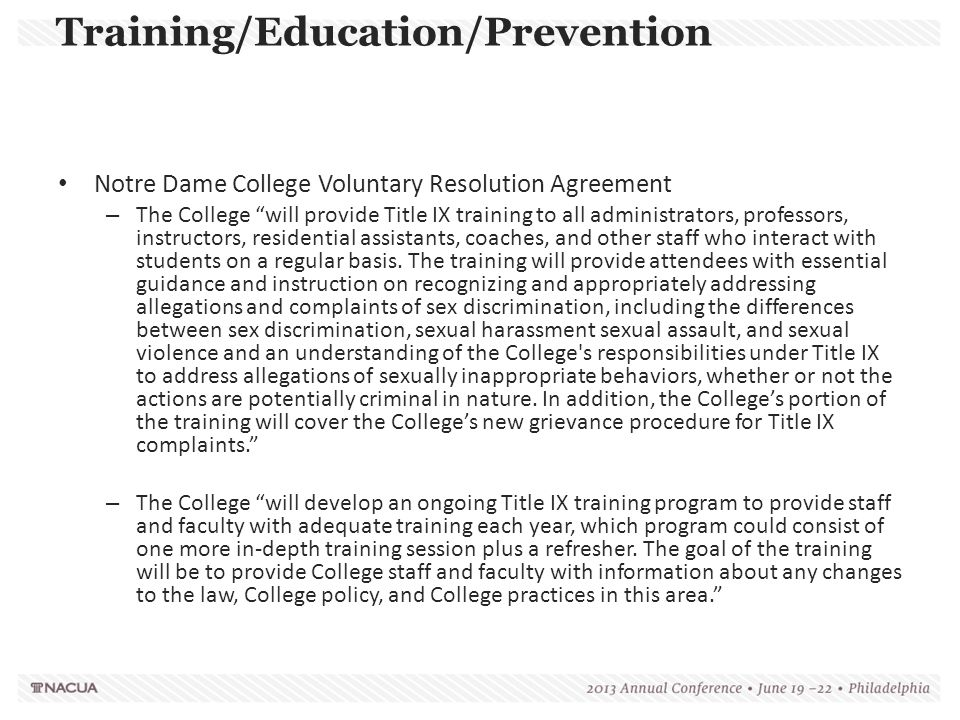 """Notre Dame College Voluntary Resolution Agreement – The College """"will provide Title IX training to all administrators, professors, instructors, reside"""
