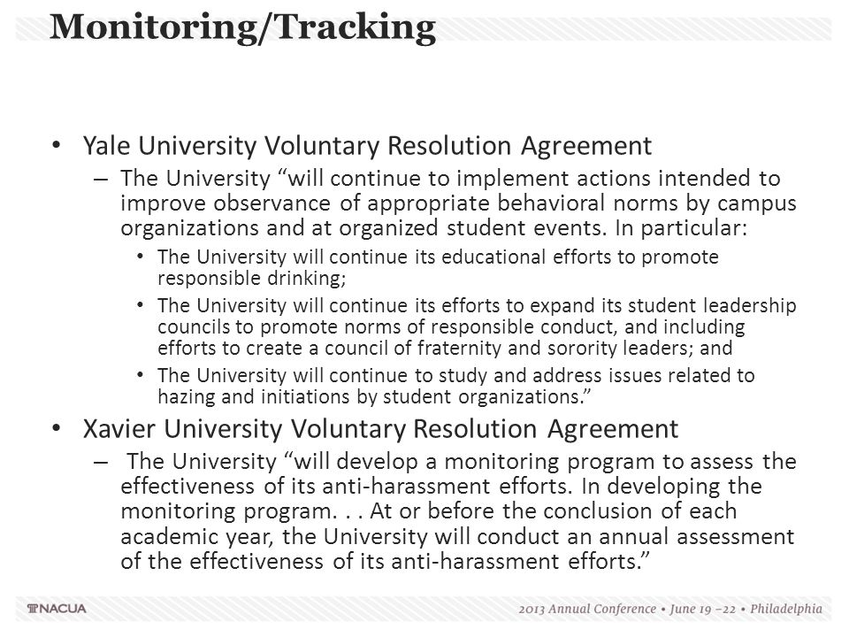 """Yale University Voluntary Resolution Agreement – The University """"will continue to implement actions intended to improve observance of appropriate beha"""