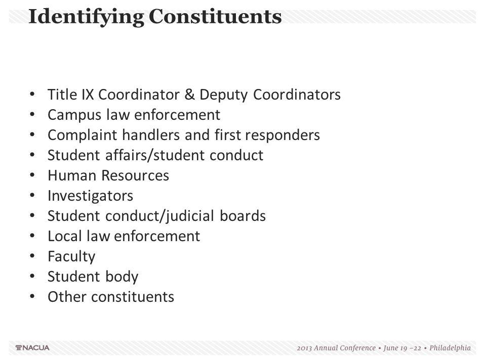 Identifying Constituents Title IX Coordinator & Deputy Coordinators Campus law enforcement Complaint handlers and first responders Student affairs/stu