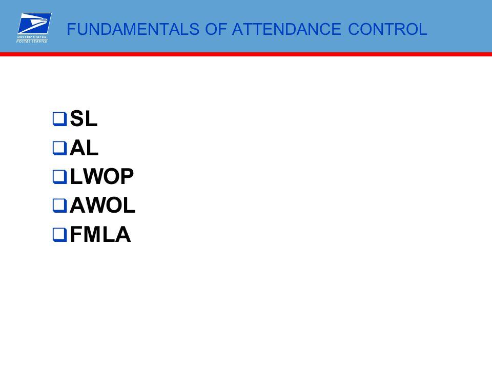 FUNDAMENTALS OF ATTENDANCE CONTROL  SL  AL  LWOP  AWOL  FMLA