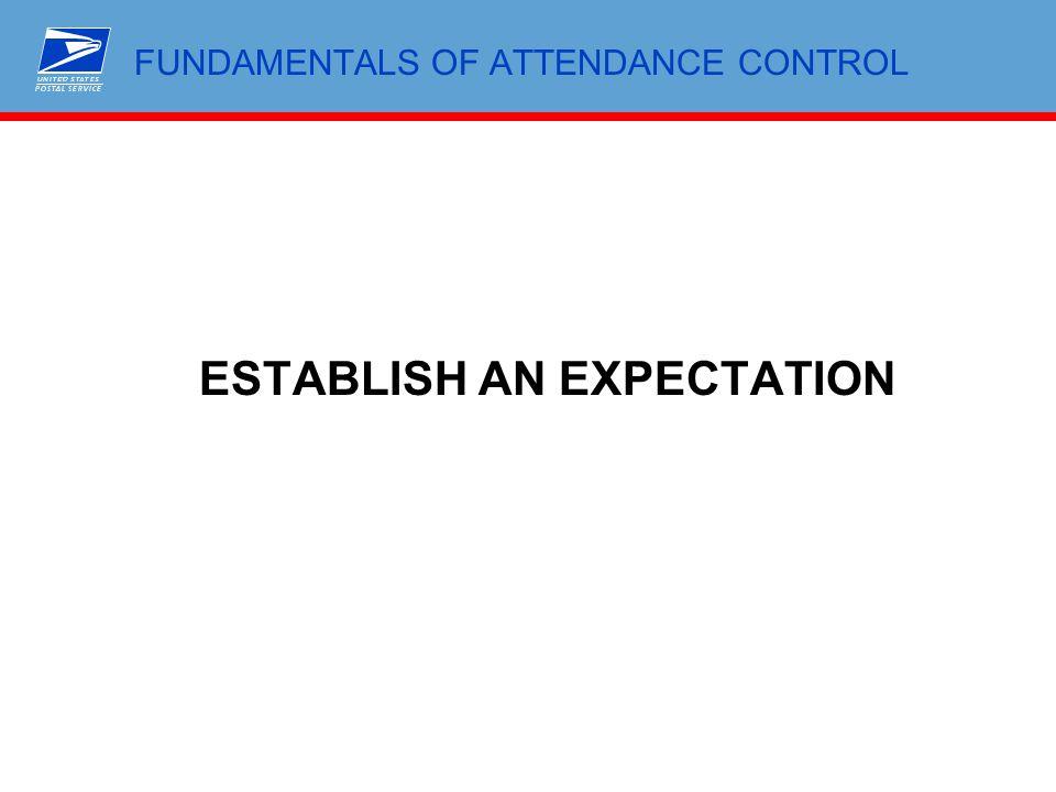 FUNDAMENTALS OF ATTENDANCE CONTROL ESTABLISH AN EXPECTATION