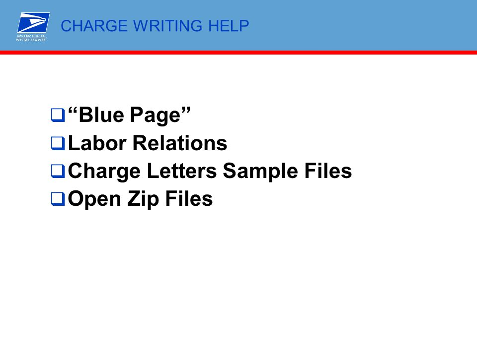 """CHARGE WRITING HELP  """"Blue Page""""  Labor Relations  Charge Letters Sample Files  Open Zip Files"""