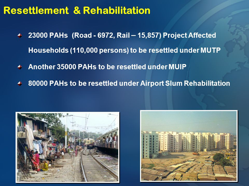 23000 PAHs (Road - 6972, Rail – 15,857) Project Affected Households (110,000 persons) to be resettled under MUTP Another 35000 PAHs to be resettled un