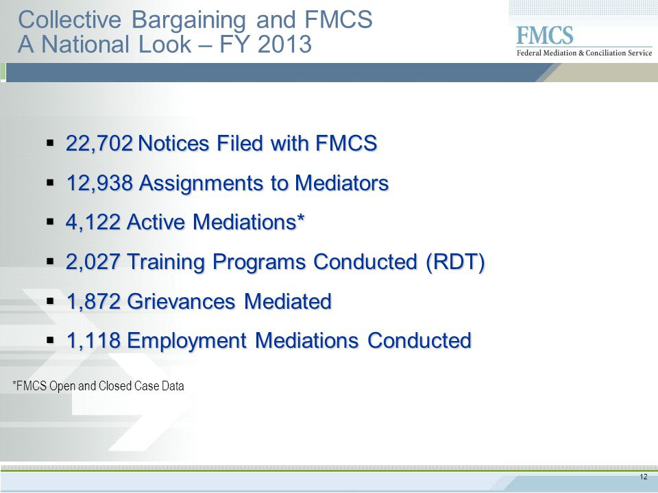12 Collective Bargaining and FMCS A National Look – FY 2013  22,702 Notices Filed with FMCS  12,938 Assignments to Mediators  4,122 Active Mediations*  2,027 Training Programs Conducted (RDT)  1,872 Grievances Mediated  1,118 Employment Mediations Conducted *FMCS Open and Closed Case Data