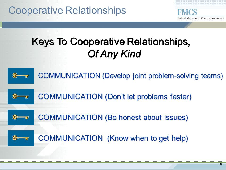 25 Keys To Cooperative Relationships, Of Any Kind Cooperative Relationships COMMUNICATION (Develop joint problem-solving teams) COMMUNICATION (Don't let problems fester) COMMUNICATION (Be honest about issues) COMMUNICATION (Know when to get help)