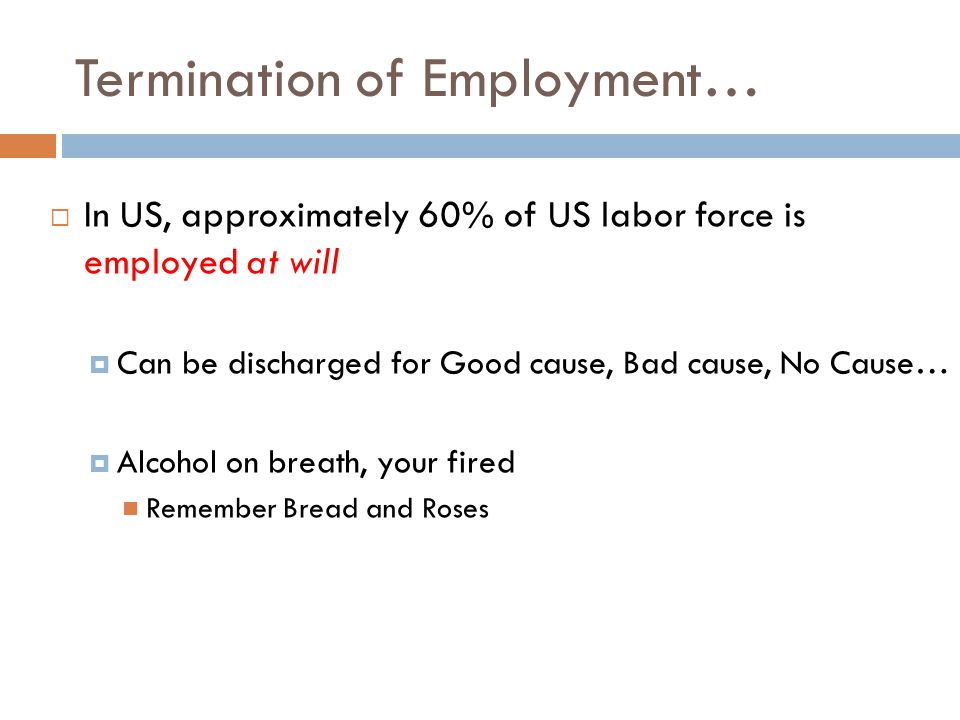Termination of Employment…  In US, approximately 60% of US labor force is employed at will  Can be discharged for Good cause, Bad cause, No Cause…  Alcohol on breath, your fired Remember Bread and Roses
