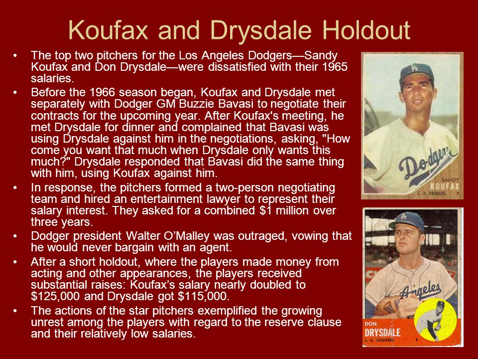 Koufax and Drysdale Holdout The top two pitchers for the Los Angeles Dodgers—Sandy Koufax and Don Drysdale—were dissatisfied with their 1965 salaries.