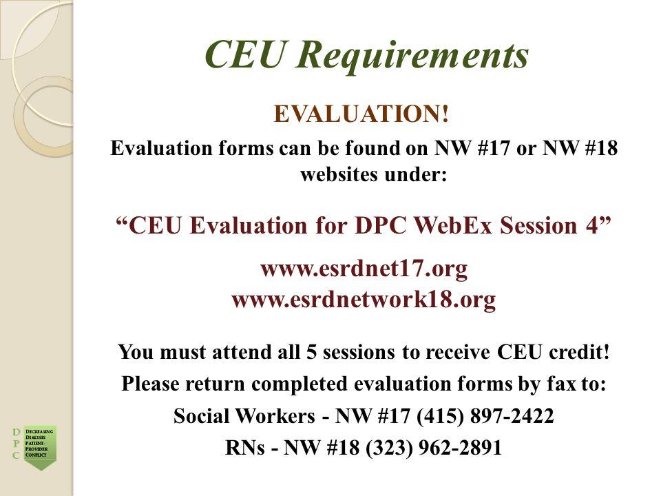 CEU Requirements EVALUATION.