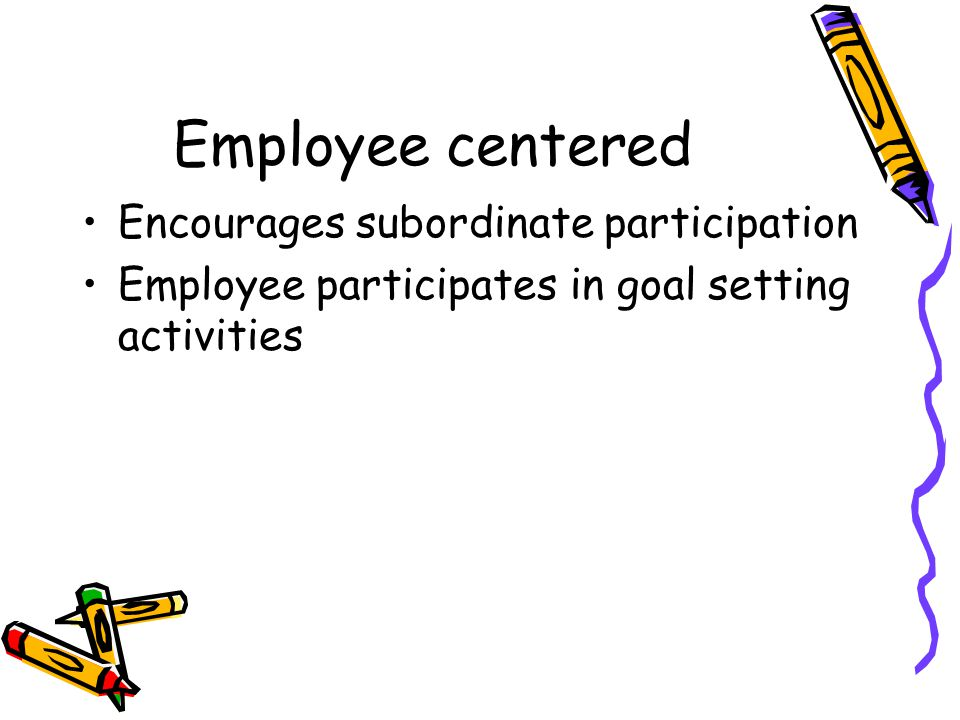 Employee centered Encourages subordinate participation Employee participates in goal setting activities