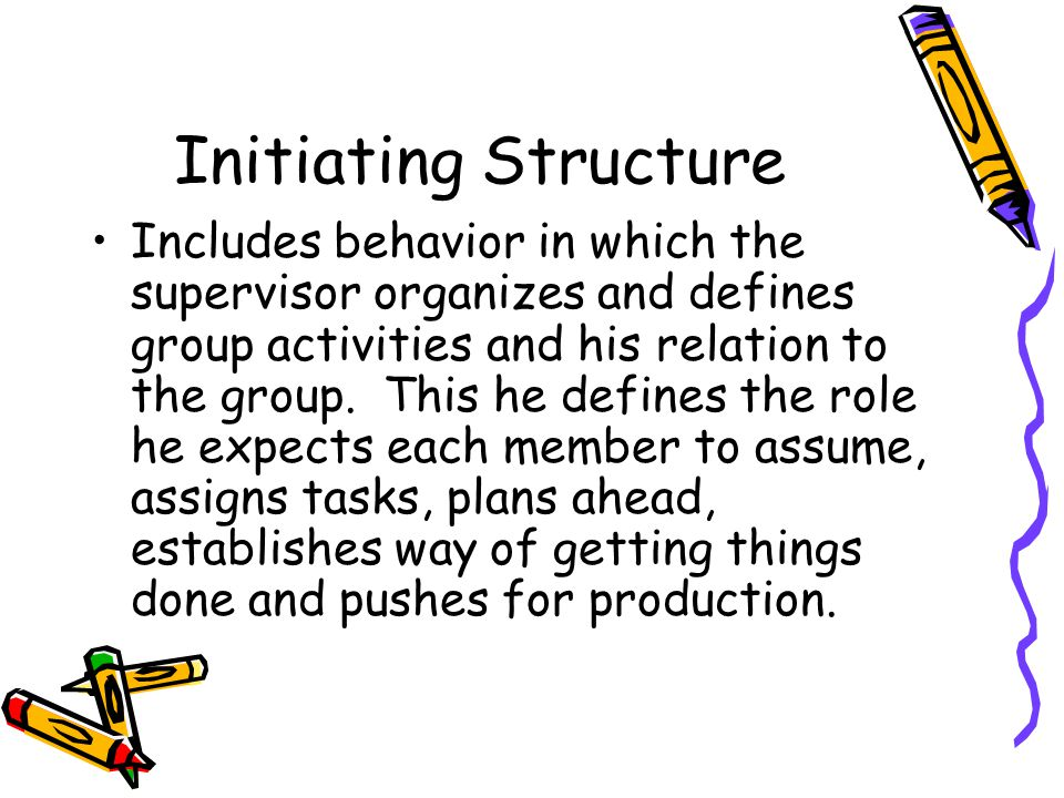 Initiating Structure Includes behavior in which the supervisor organizes and defines group activities and his relation to the group.