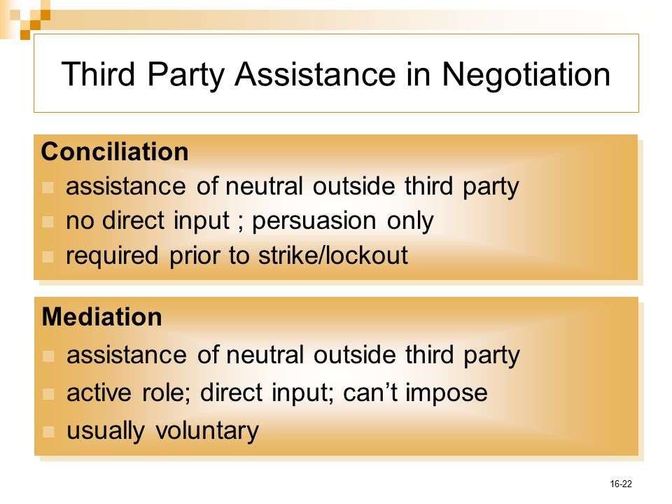 16-22 Third Party Assistance in Negotiation Conciliation assistance of neutral outside third party no direct input ; persuasion only required prior to strike/lockout Conciliation assistance of neutral outside third party no direct input ; persuasion only required prior to strike/lockout Mediation assistance of neutral outside third party active role; direct input; can't impose usually voluntary