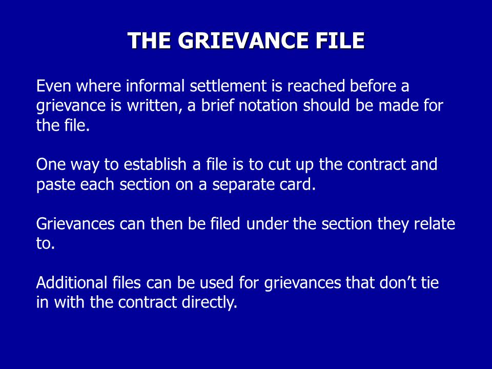 "THE GRIEVANCE FILE Maintains continuity through steward turnovers and officer changes. Enables stewards and leaders to locate ""lost"" facts. Enables st"
