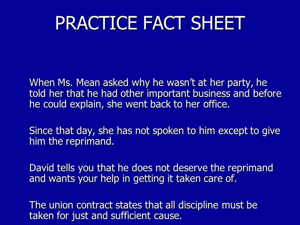 PRACTICE FACT SHEET David went on to tell you that he did not think anything more about the day until Ms.