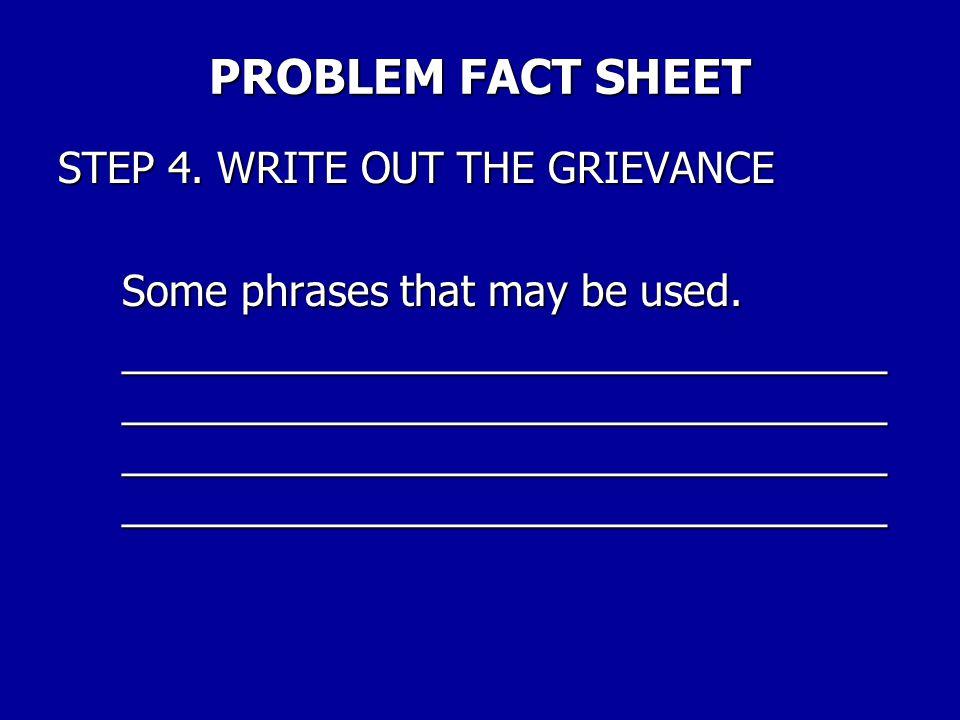 PROBLEM FACT SHEET STEP 4.
