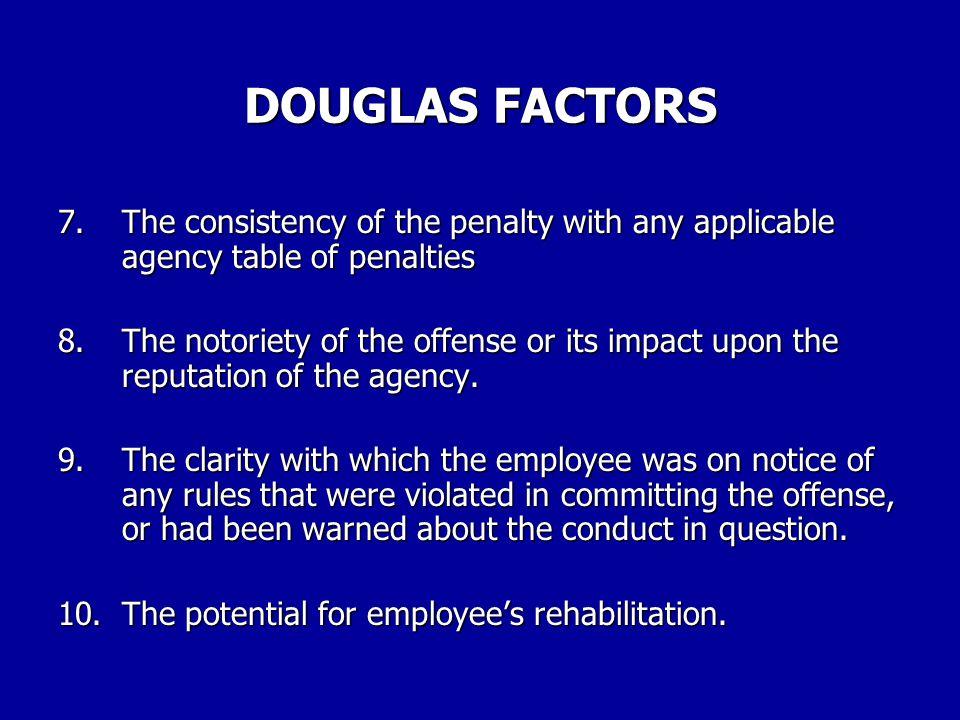 DOUGLAS FACTORS 3.The employee's past disciplinary record.