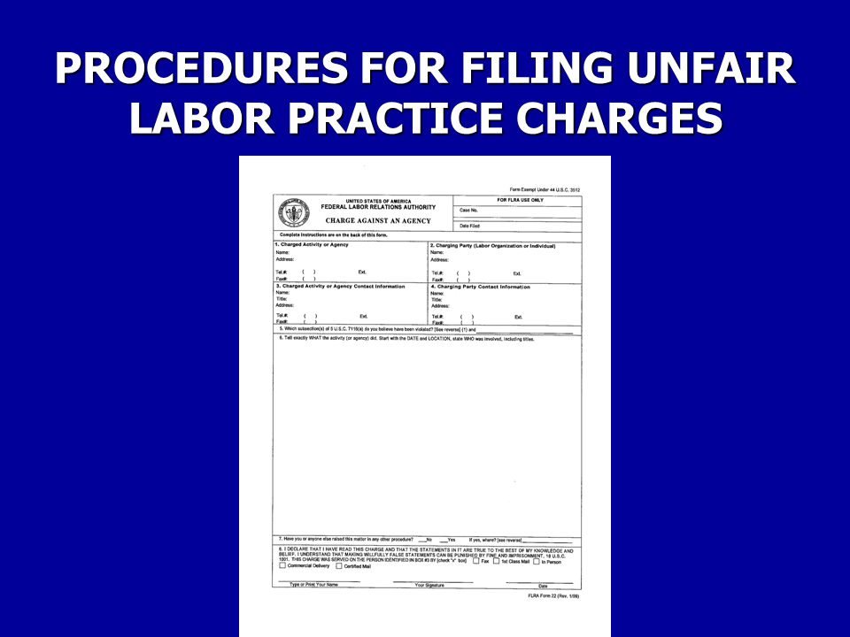 PROCEDURES FOR FILING UNFAIR LABOR PRACTICE CHARGES The Federal Labor Relations Authority, however, may not investigate an allegation that an unfair labor practice charge had been committed without the filing of an unfair labor practice charge on forms prescribed by the Authority.