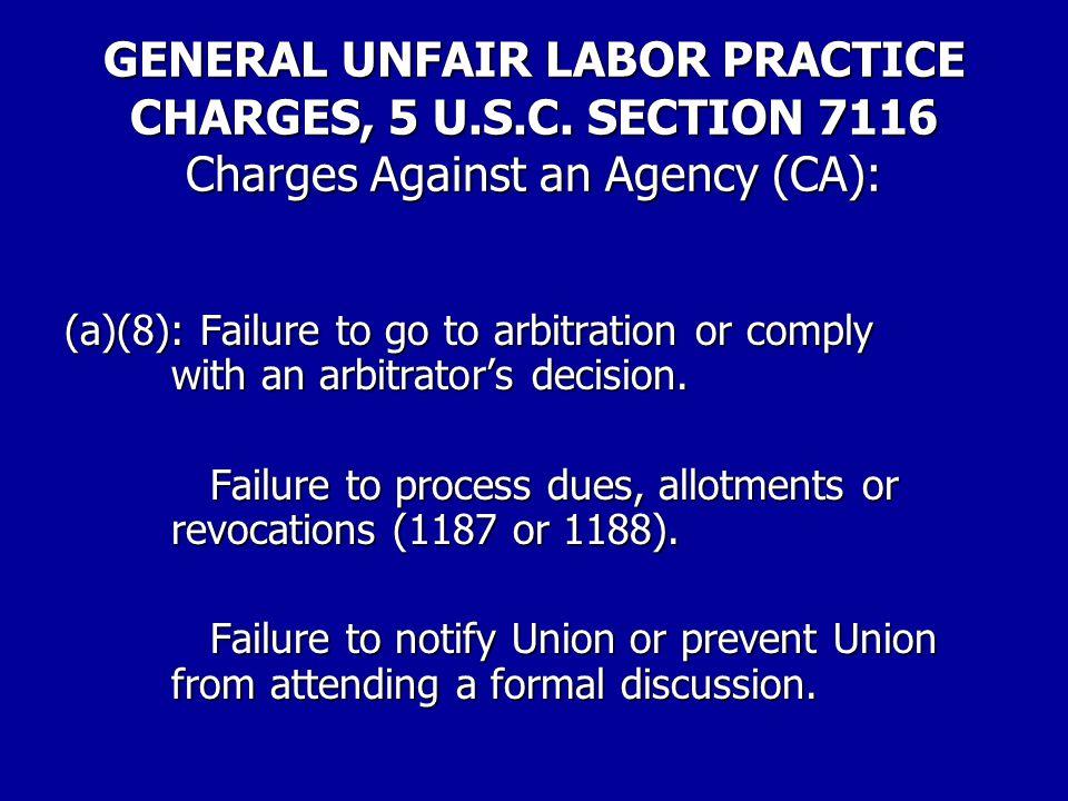 GENERAL UNFAIR LABOR PRACTICE CHARGES, 5 U.S.C.
