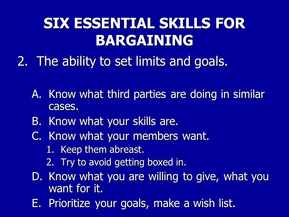 SIX ESSENTIAL SKILLS FOR BARGAINING 1.Thorough preparation.