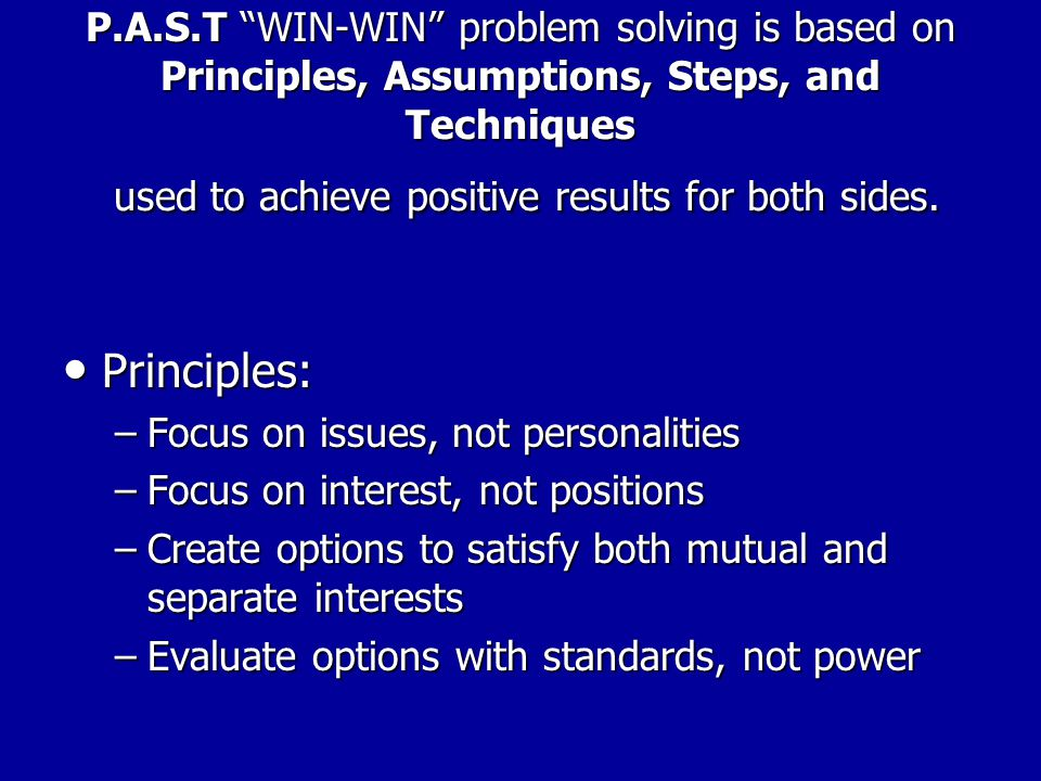 INTEREST BASED BARGAINING DEFINITIONS CHEAT SHEET Amend, combine, develop new options Amend, combine, develop new options Apply standards to options (