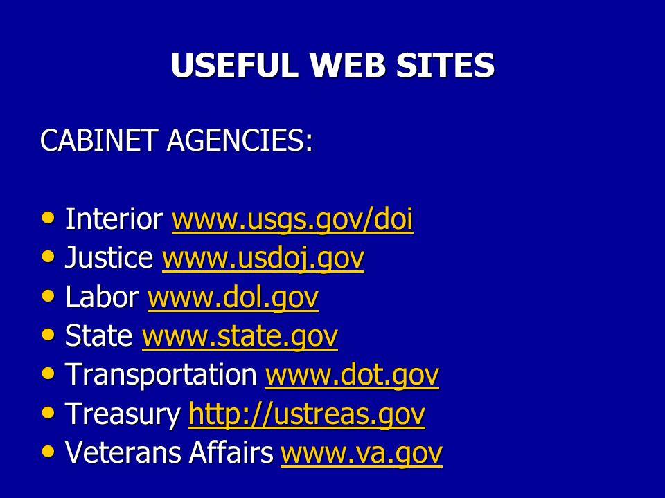 USEFUL WEB SITES CABINET AGENCIES: Agriculture www.usda/gov Agriculture www.usda/govwww.usda/gov Commerce www.doc.gov Commerce www.doc.govwww.doc.gov Defense www.dtic.dla.mil/defenselink Defense www.dtic.dla.mil/defenselinkwww.dtic.dla.mil/defenselink Education www.ed.gov Education www.ed.govwww.ed.gov Energy www.doe.gov Energy www.doe.govwww.doe.gov HHS www.os.dhhs.gov HHS www.os.dhhs.govwww.os.dhhs.gov
