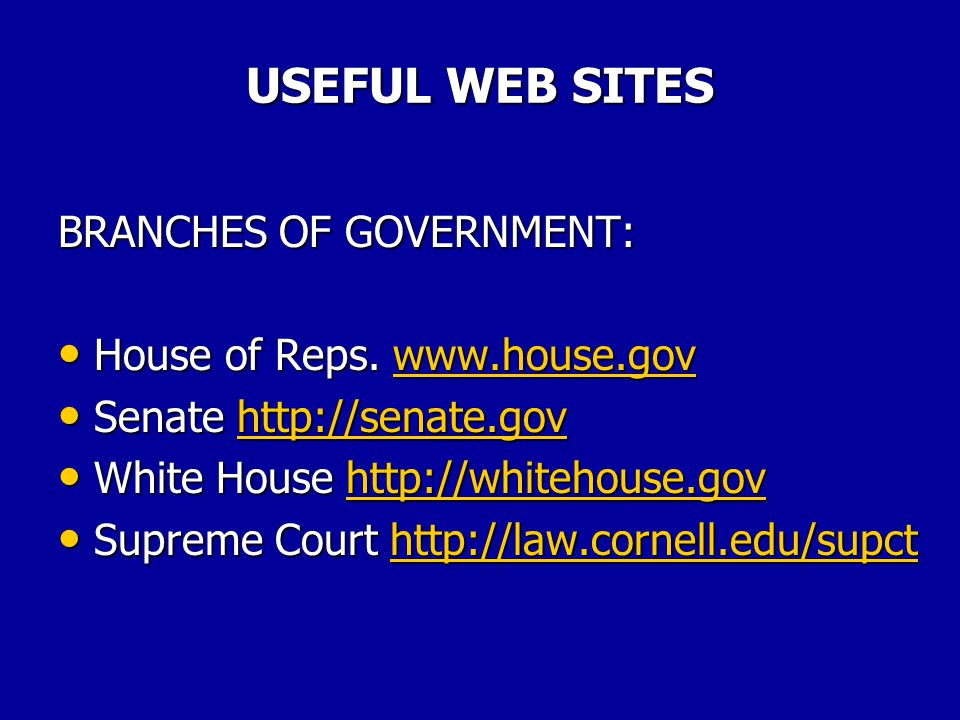 USEFUL WEB SITES CABINET AGENCIES: Interior www.usgs.gov/doi Interior www.usgs.gov/doiwww.usgs.gov/doi Justice www.usdoj.gov Justice www.usdoj.govwww.