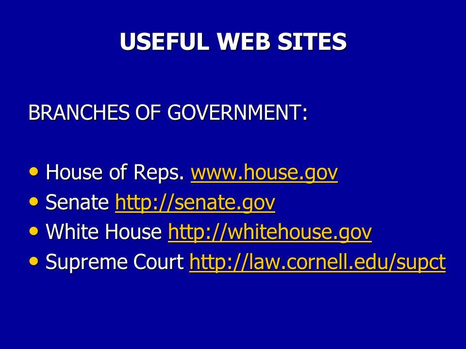 USEFUL WEB SITES CABINET AGENCIES: Interior www.usgs.gov/doi Interior www.usgs.gov/doiwww.usgs.gov/doi Justice www.usdoj.gov Justice www.usdoj.govwww.usdoj.gov Labor www.dol.gov Labor www.dol.govwww.dol.gov State www.state.gov State www.state.govwww.state.gov Transportation www.dot.gov Transportation www.dot.govwww.dot.gov Treasury http://ustreas.gov Treasury http://ustreas.govhttp://ustreas.gov Veterans Affairs www.va.gov Veterans Affairs www.va.govwww.va.gov