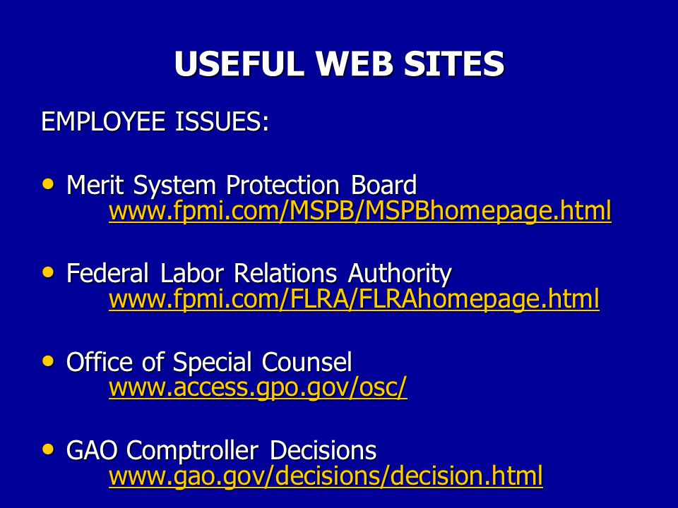 USEFUL WEB SITES USEFUL SITES: Federal Centerwww.fedcenter.com Federal Centerwww.fedcenter.comwww.fedcenter.com Finance Net www.financenet.gov Finance